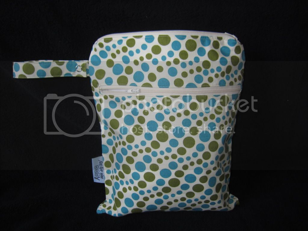 Green &amp; Blue Dots (Cream Background) &lt;br&gt; Small Wet/Dry Bag